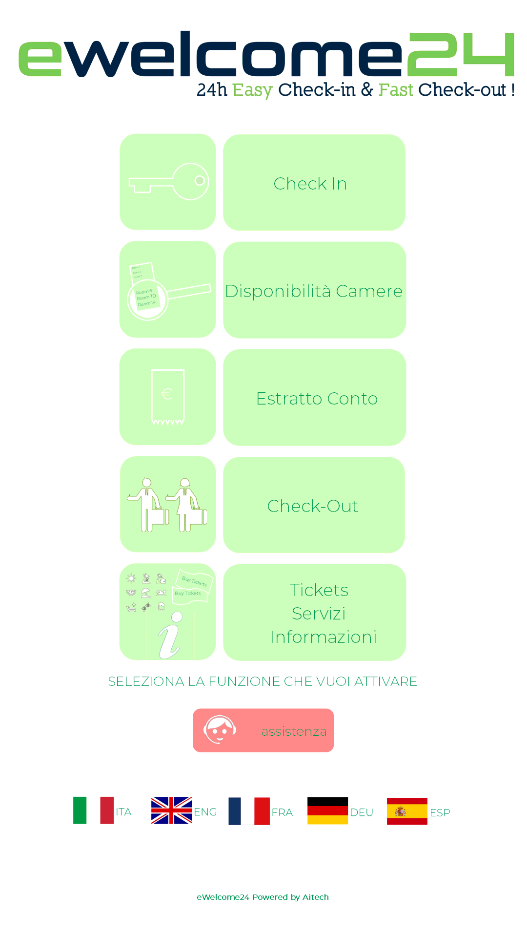 Schermata home page applicazione